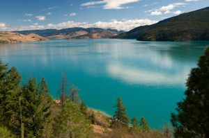 view of lake blue waters in Okanagan